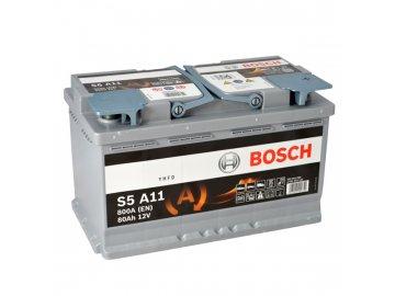 Autobaterie BOSCH S5A 110, 80Ah, 12V, AGM (0 092 S5A 110)