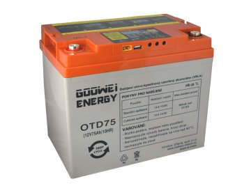 DEEP CYCLE (GEL) baterie GOOWEI ENERGY OTD75, 75Ah, 12V