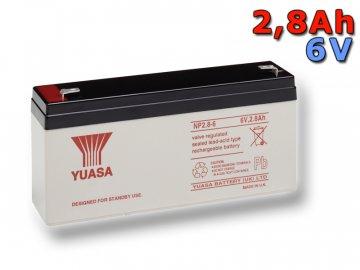 Staniční (záložní) baterie YUASA NP2.8-6,  2,8Ah, 6V
