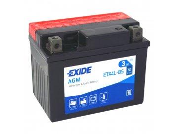 Motobaterie EXIDE ETX4L-BS, 12V, 4Ah, 50A