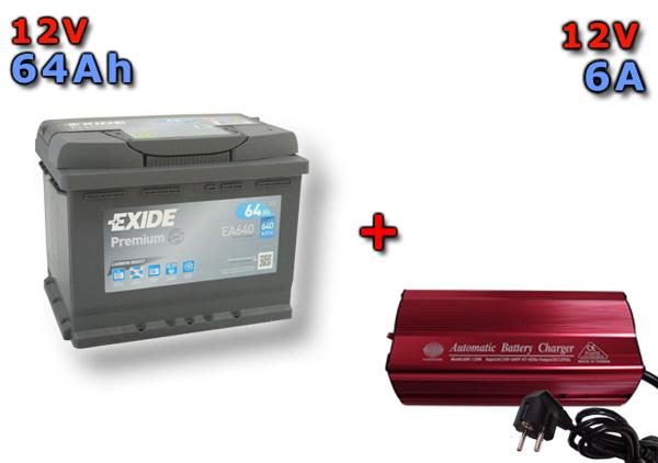 Výhodný set autobaterie EXIDE Premium 64Ah, 12V, EA640 a multifunkční Nabíječky FST ABC-1206
