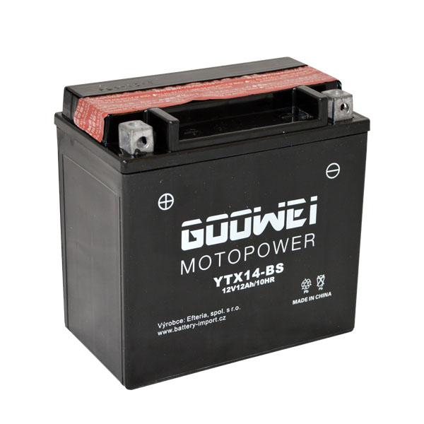 Motobaterie GOOWEI YTX14-BS, 12Ah, 12V