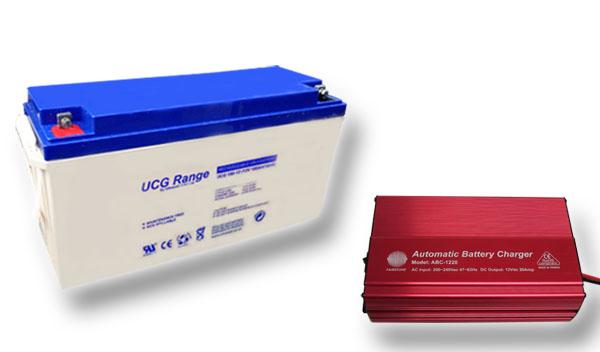 Výhodný set - trakční (gelové) baterie Ultracell UCG150-12 (12V - 150Ah) a nabíječky FST ABC-1220D (12V - 20A)