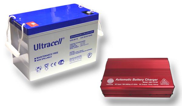 Výhodný set - trakční (gelové) baterie Ultracell UCG85-12 (12V - 85Ah) a nabíječky FST ABC-1210D (12V - 10A)
