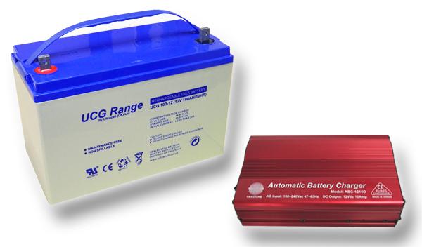 Výhodný set - trakční (gelové) baterie Ultracell UCG100-12 (12V - 100Ah) a nabíječky FST ABC-1210D (12V - 10A)