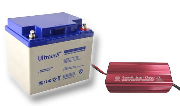 Výhodný set - trakční (gelové) baterie Ultracell UCG45-12 (12V - 45Ah) a nabíječky FST ABC-1206D (12V - 6A)
