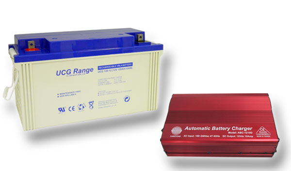 Výhodný set - trakční (gelové) baterie Ultracell UCG120-12 (12V - 120Ah) a nabíječky FST ABC-1210D (12V - 10A)