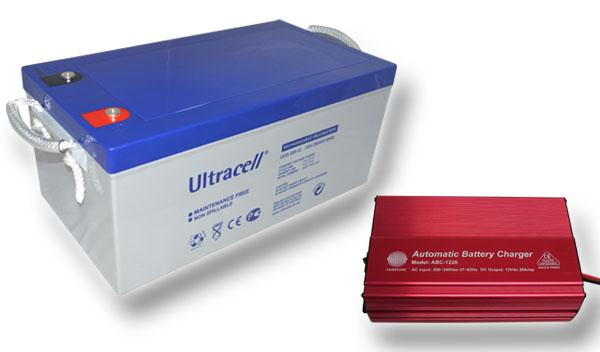 Výhodný set - trakční (gelové) baterie Ultracell UCG250-12 (12V - 250Ah) a nabíječky FST ABC-1230D (12V - 30A)