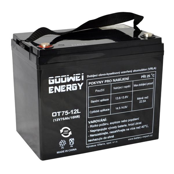Trakční (GEL) baterie Goowei OTL75-12, 75 Ah, 12V