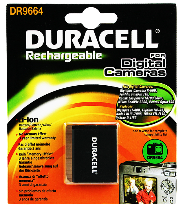 Baterie do fotoaparátu Olympus FE-150Zoom/FE-160/FE-190/FE-20/FE-220/FE-220D/FE-230/FE-240/FE-250/FE-280, 630mAh, 3.7V, DR9664, blistr