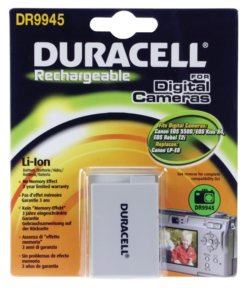 Baterie do fotoaparátu Canon EOS 550D/EOS 600D/EOS Kiss X4/EOS Rebel T2i/EOS Rebel T3i, 1020mAh, 7.4V, DR9945, blistr