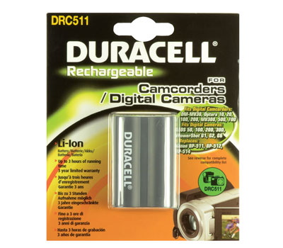 Baterie do fotoaparátu Canon EOS 5D Mk I/EOS D30/EOS D60/EOS Digital Rebel/EOS Kiss Digital/FV10/FV100/FV2/FV20/FV200, 1400mAh, 7.4V, DRC511, blistr