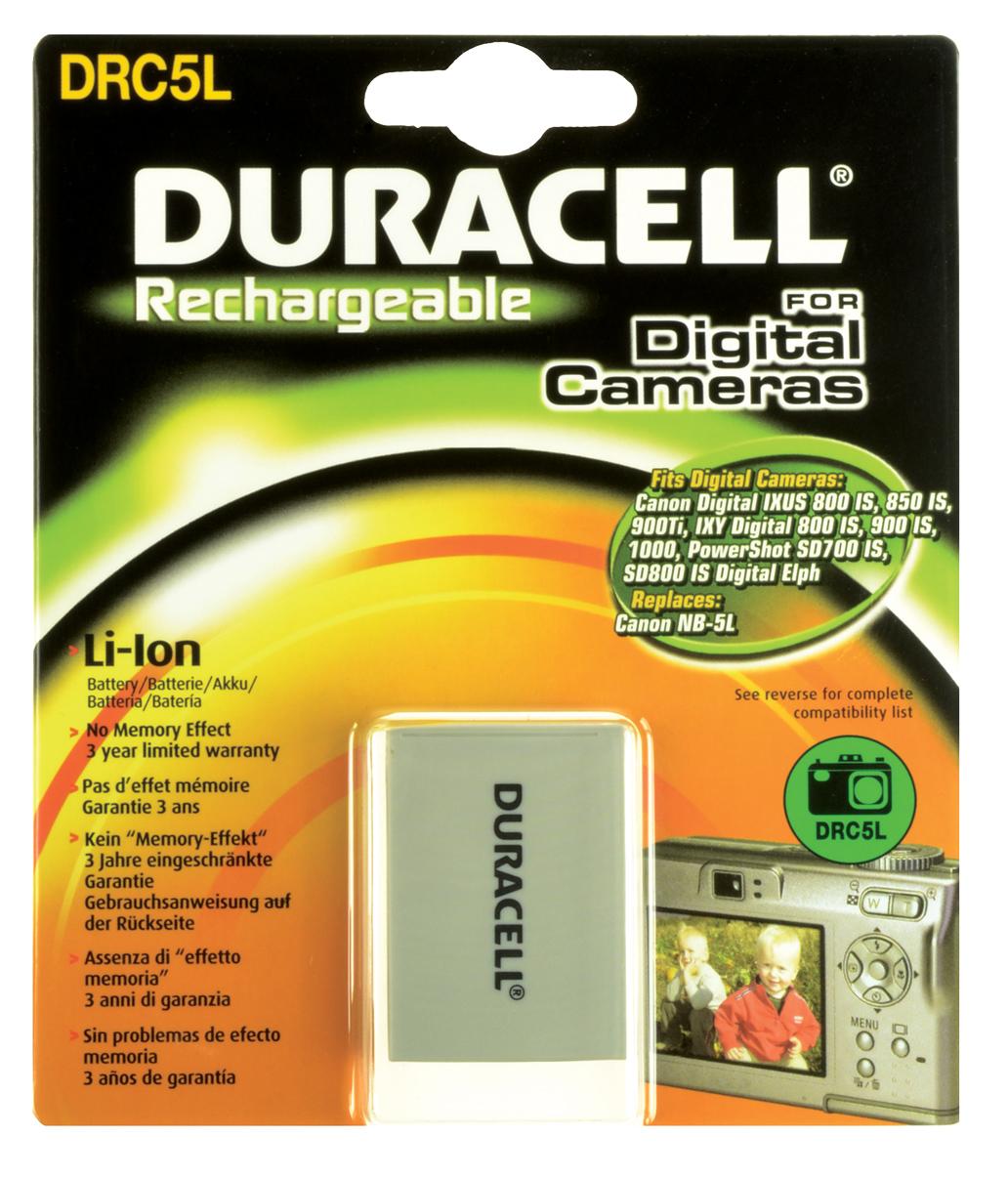 Baterie do fotoaparátu Canon PowerShot SX230 HS Black/PowerShot SX230 HS Blue/PowerShot SX230 HS Red, 820mAh, 3.7V, DRC5L, blistr