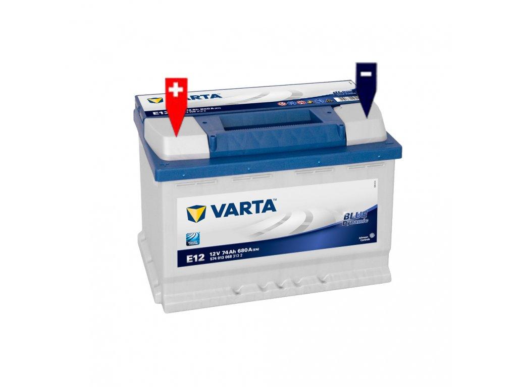 autobaterie varta blue dynamic 74ah 12v e12 battery. Black Bedroom Furniture Sets. Home Design Ideas