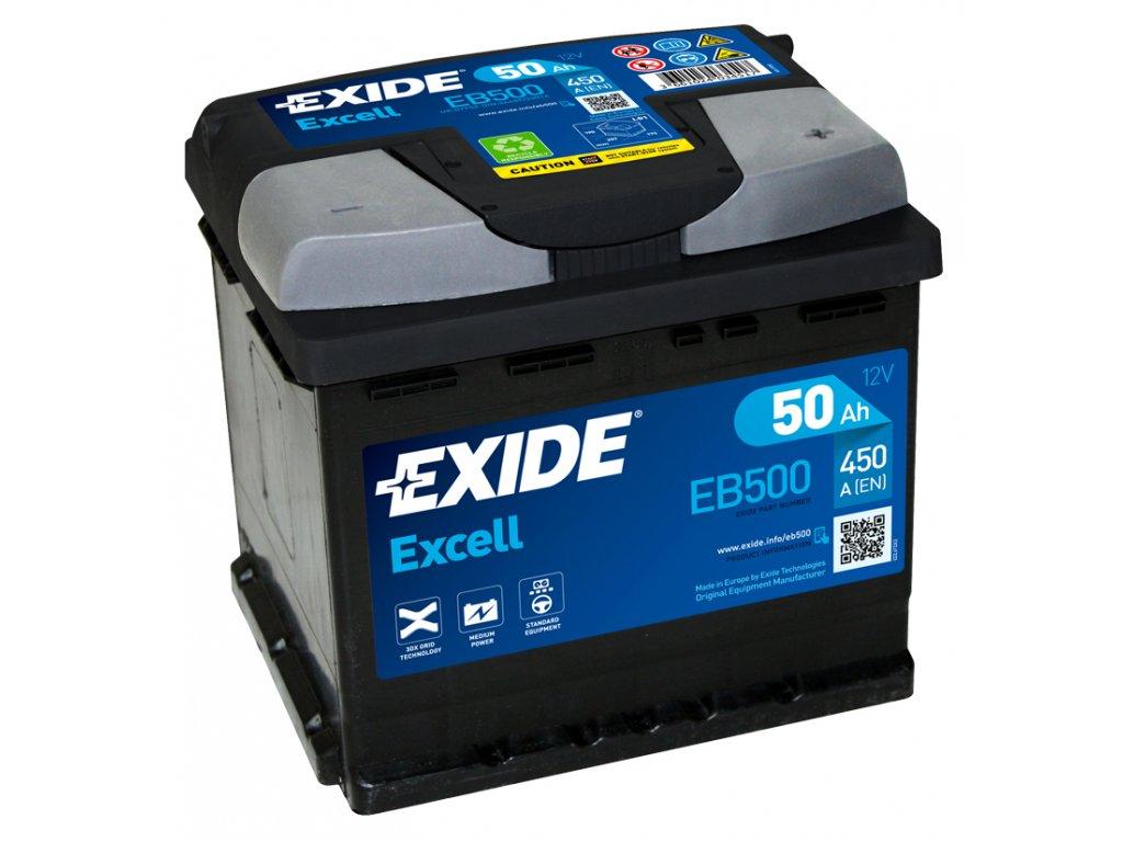Autobatéria EXIDE EXCELL 50Ah, 12V, EB500