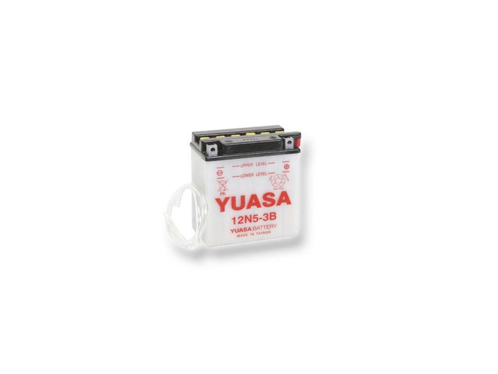 Motobatéria YUASA (originál) 12N5-3B, 12V,  5Ah  dodávané vrátane balenia akumulátorovej kyseliny