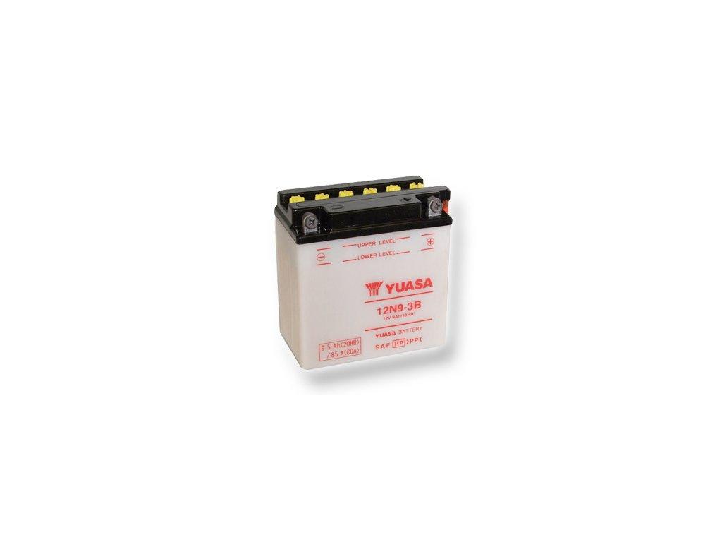 Motobatéria YUASA (originál) 12N9-3B, 12V,  9Ah  dodávané vrátane balenia akumulátorovej kyseliny