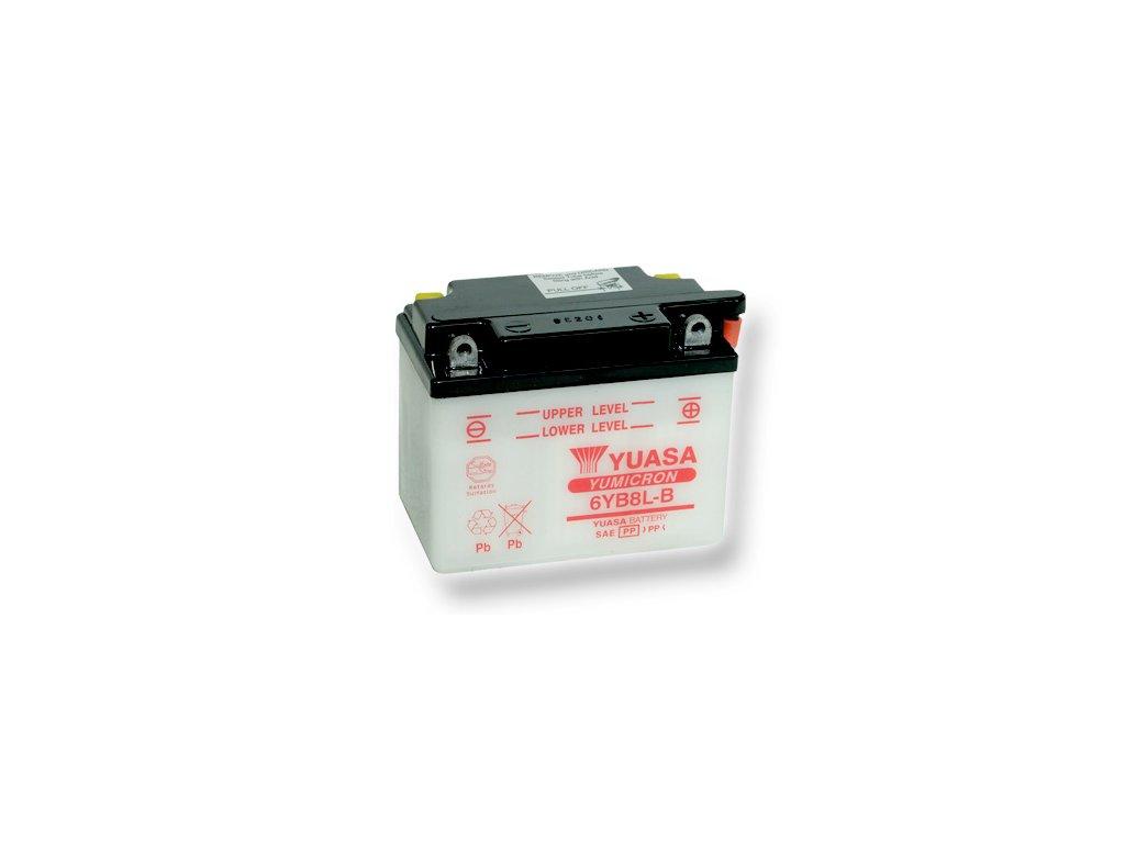 Motobatéria YUASA (originál) 6YB8L-B, 6V,  8Ah  dodávané vrátane balenia akumulátorovej kyseliny