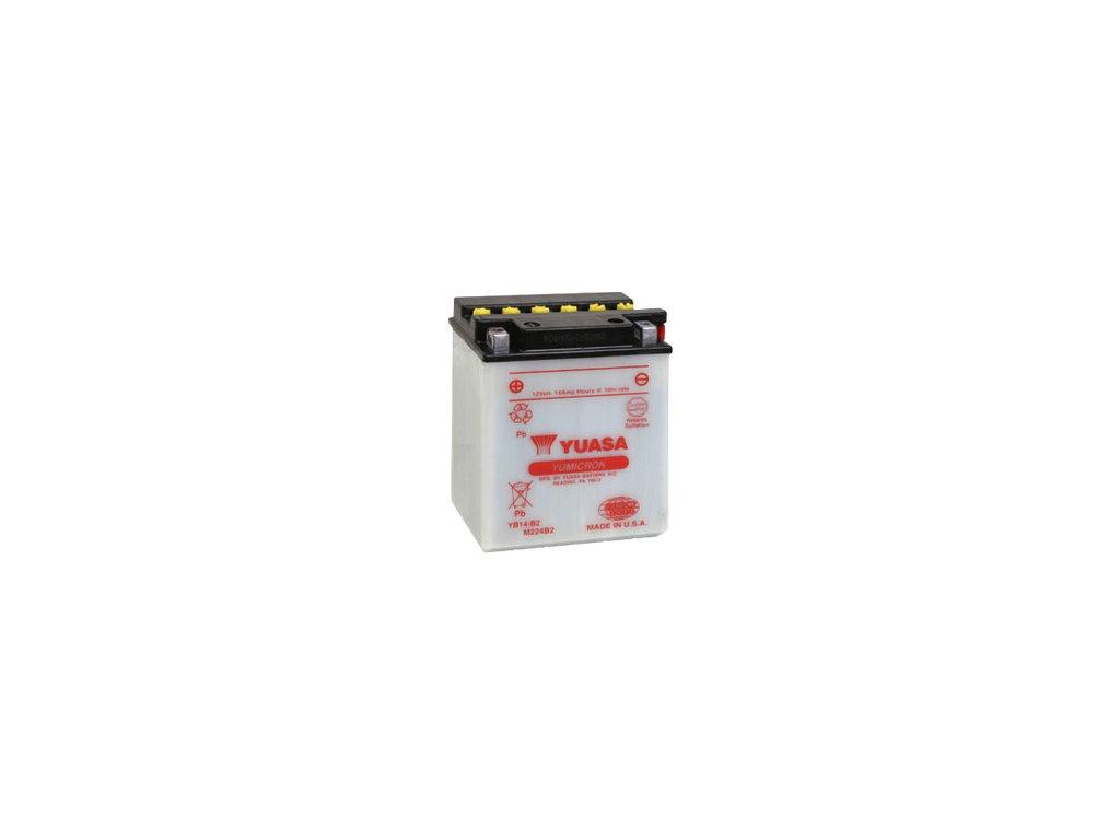 Motobatéria YUASA (originál) YB14-B2, 12V,  14Ah  dodávané vrátane balenia akumulátorovej kyseliny