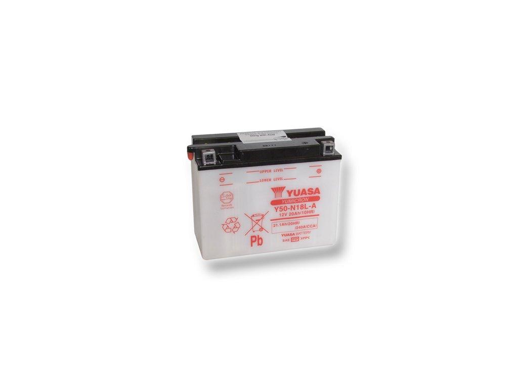 Motobatéria YUASA (originál) Y50-N18L-A, 12V,  20Ah  dodávané vrátane balenia akumulátorovej kyseliny