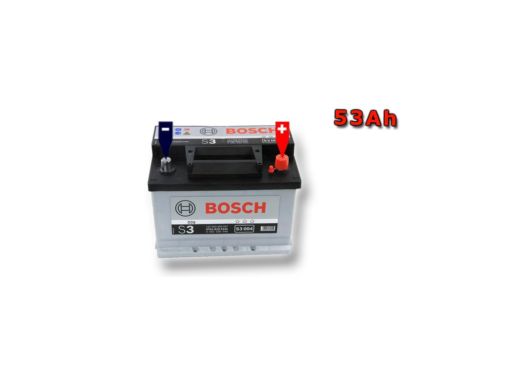 Autobaterie BOSCH S3 004, 53Ah, 12V (0 092 S30 040)