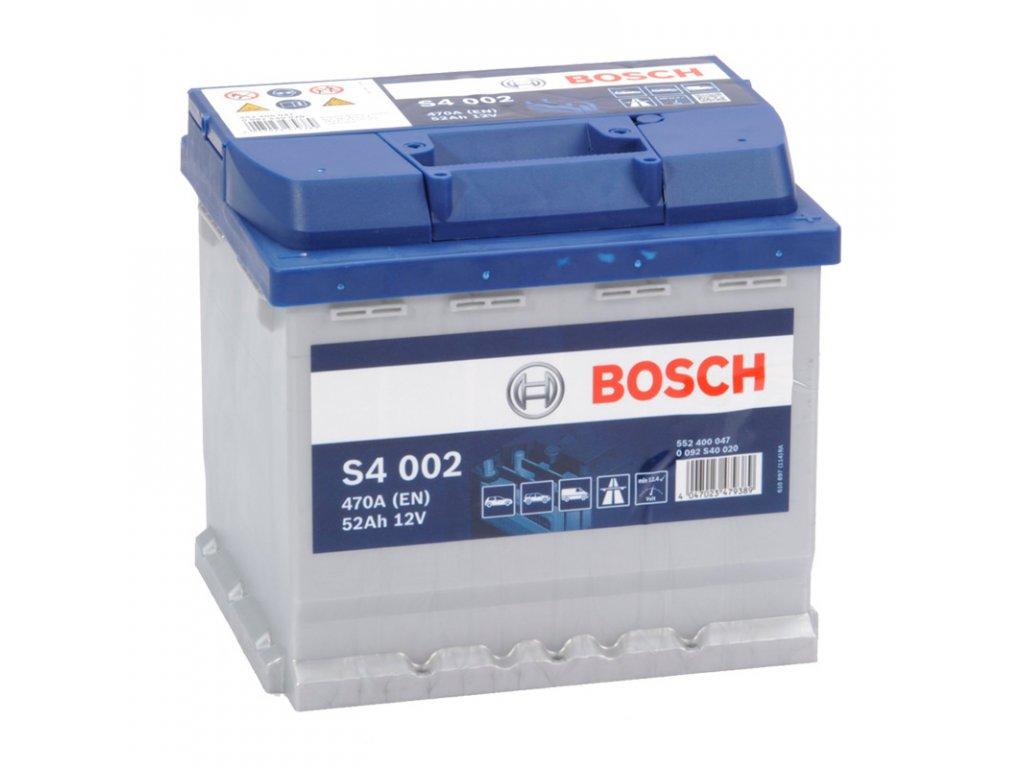 Autobaterie BOSCH S4 002, 52Ah, 12V (0 092 S40 020