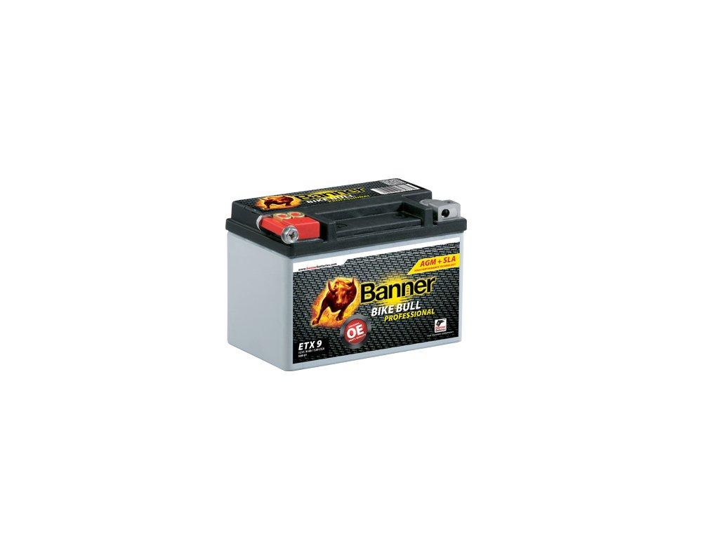 Motobatéria Banner Bike Bull AGM PRO ETX 9, 8Ah, 12V (YTX9-BS)