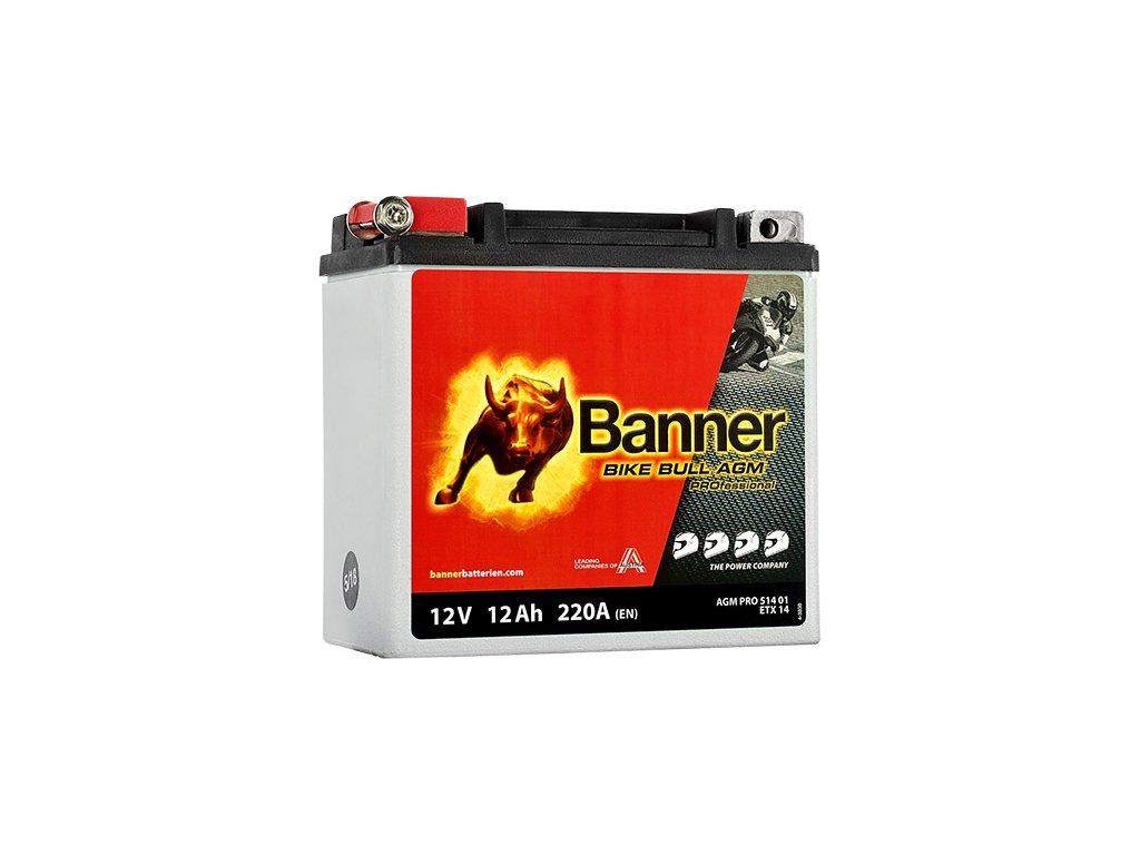 Motobatéria Banner Bike Bull AGM PRO ETX 14, 12Ah, 12V (YTX14-BS)