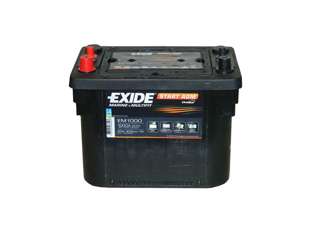 Trakčná batéria EXIDE START AGM  50Ah, 12V, EM1000 (EM 1000)