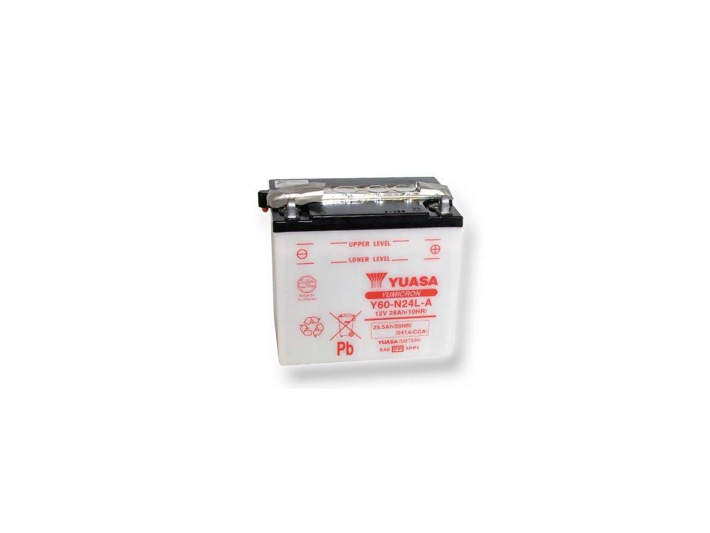Motobatéria YUASA (originál) Y60-N24L-A, 12V,  28Ah  dodávané vrátane balenia akumulátorovej kyseliny