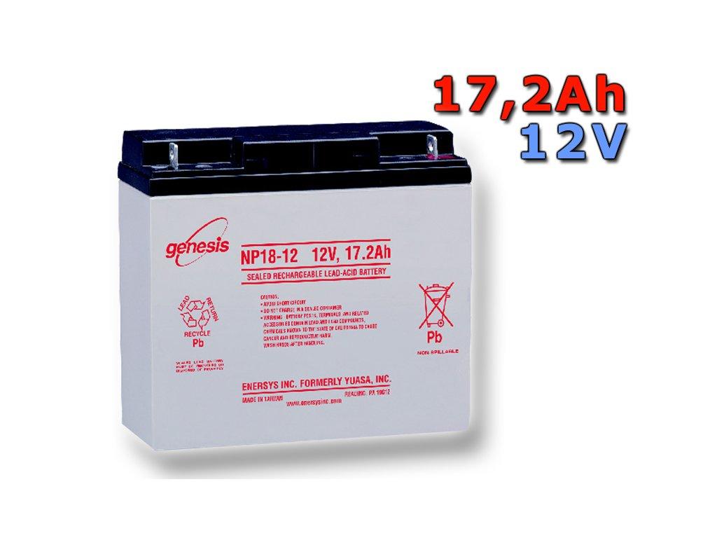 Staniční (záložní) baterie YUASA NP18-12,  17.2Ah, 12V