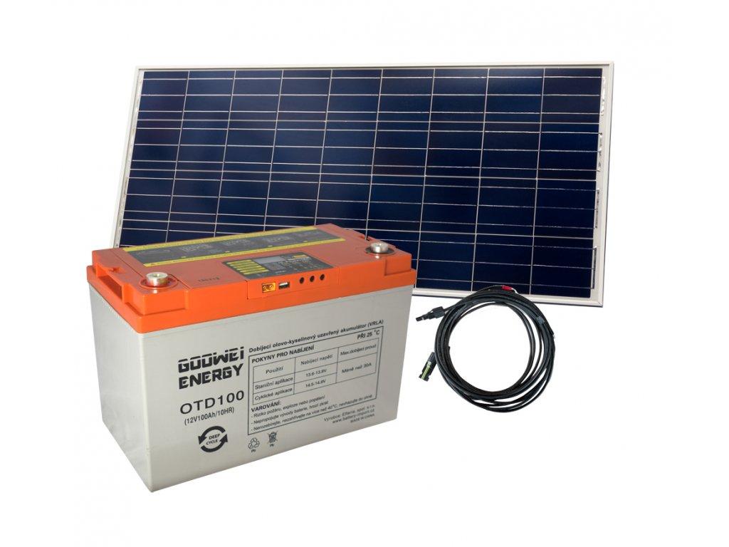 Set batéria GOOWEI ENERGY OTD100 (100Ah, 12V) a solárny panel Victron Energy 115Wp/12V