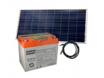Set baterie GOOWEI ENERGY OTD75 (75Ah, 12V) a solární panel Victron Energy 115Wp/12V