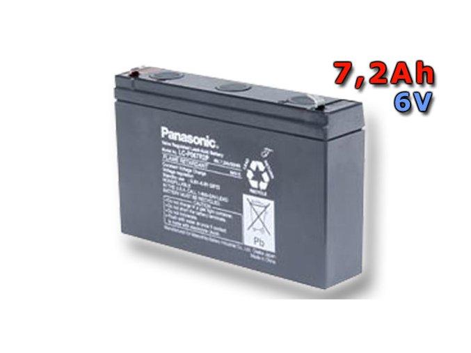 Staniční (záložní) baterie PANASONIC LC-P067R2P, 7,2Ah, 6V