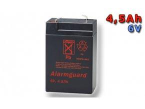 Staniční (záložní) baterie ALARMGUARD CJ6-4.5, 4,5Ah, 6V