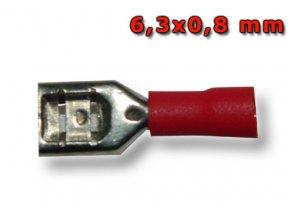 Faston zásuvka FH63X08RT 6,3x0,8 mm; 0,5-1,5 mm2; červený