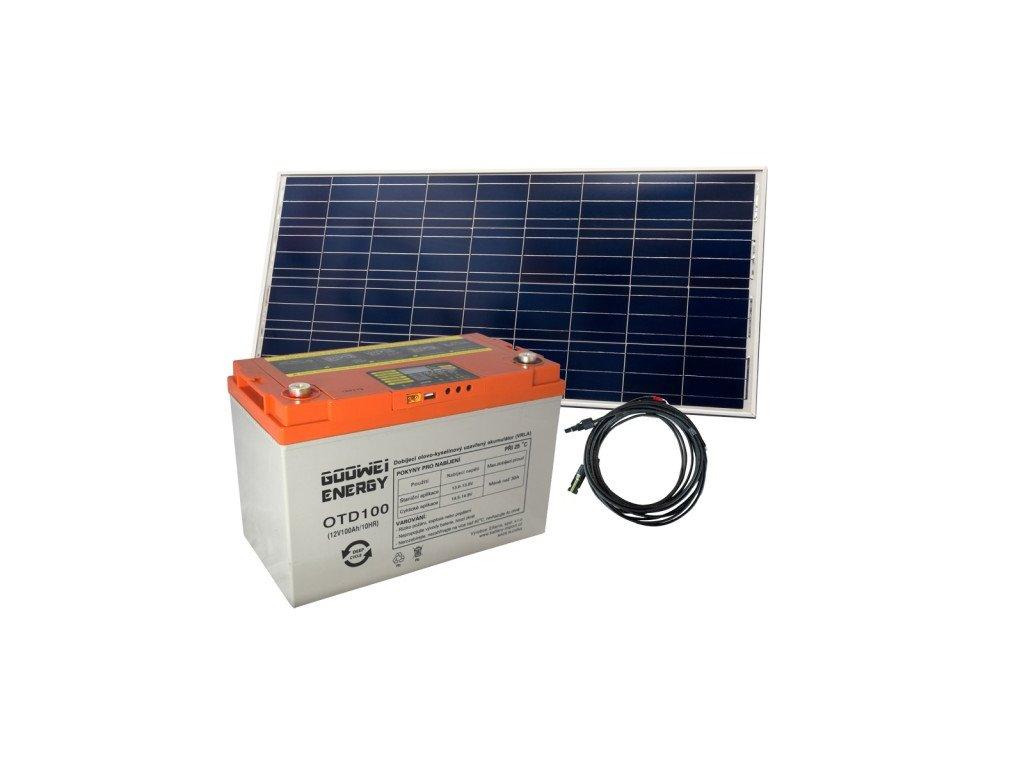 Set baterie GOOWEI ENERGY OTD100 (100Ah, 12V) a solární panel Victron Energy 115Wp/12V