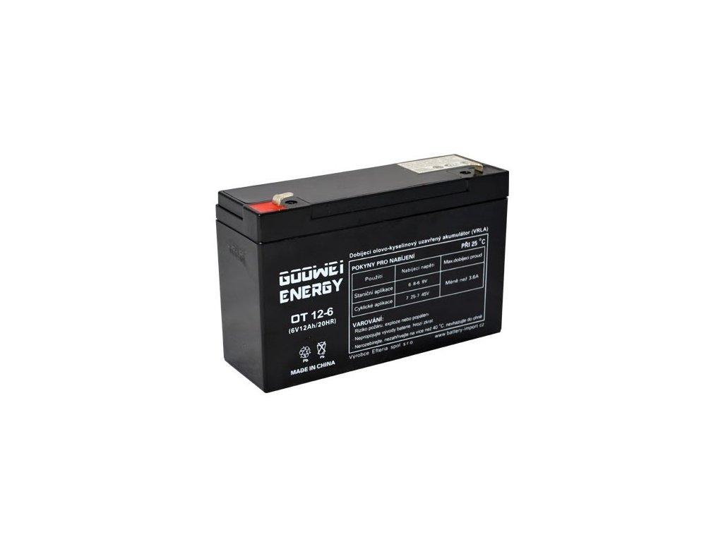 Staniční (záložní) baterie GOOWEI ENERGY OT12-6, 12Ah, 6V ( VRLA )