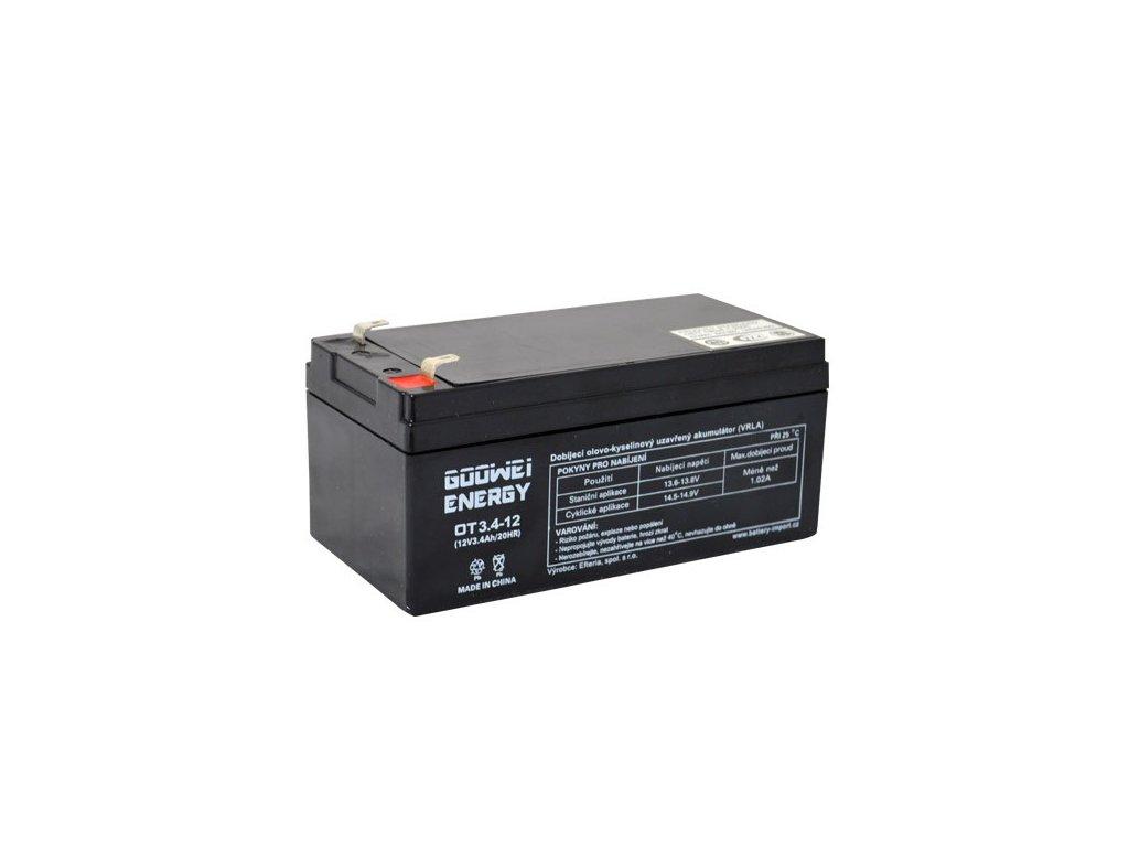 Staniční (záložní) baterie GOOWEI ENERGY OT3.4-12, 3.4Ah,12V ( VRLA )
