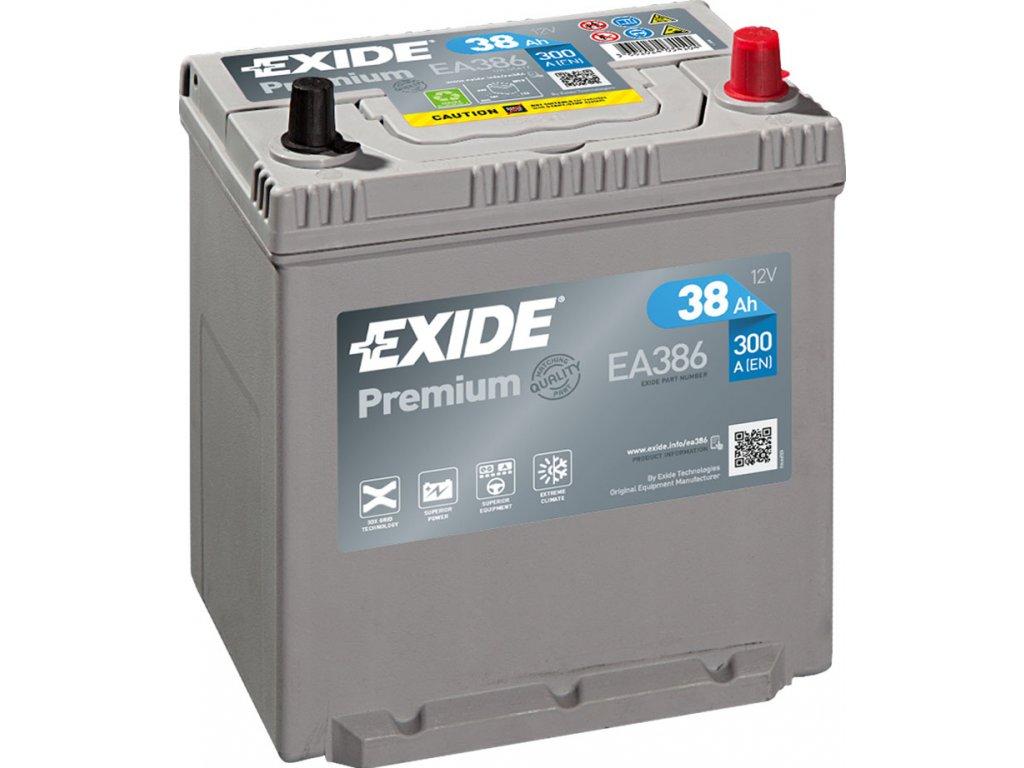 Autobaterie EXIDE Premium 38Ah, 300A, 12V, EA386