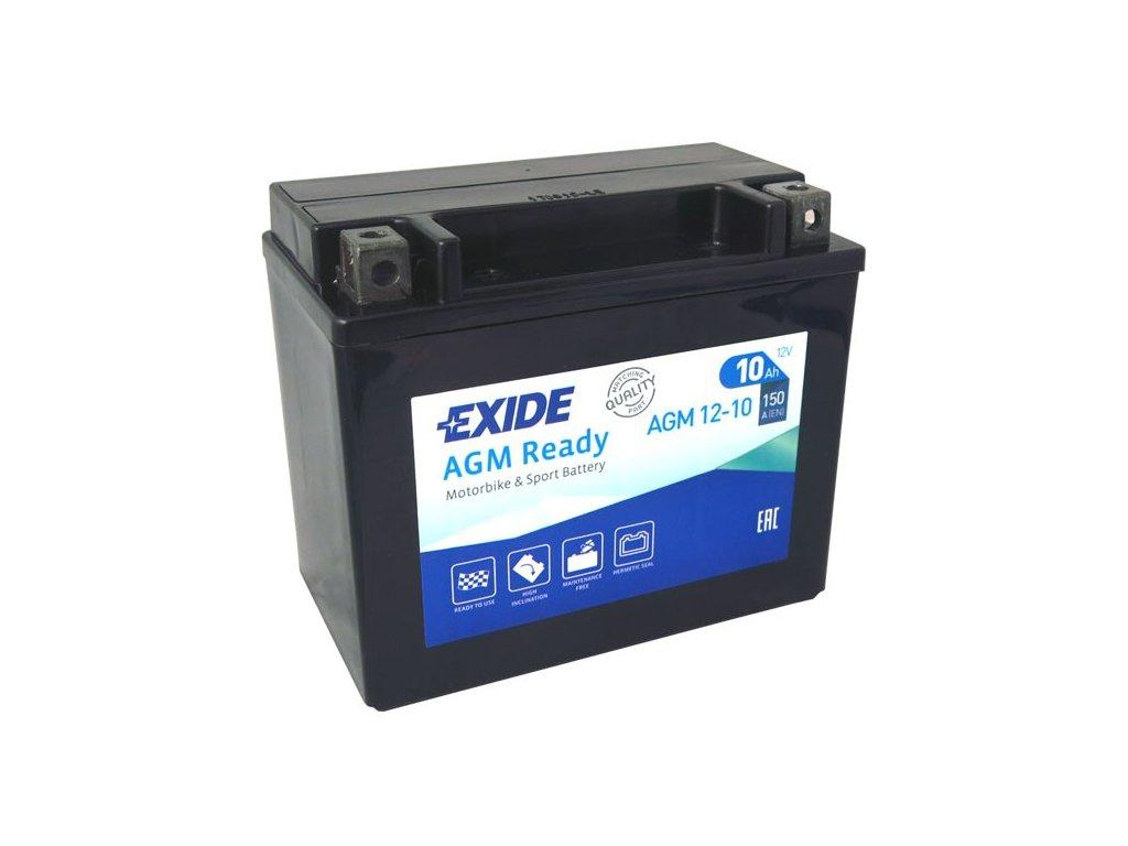 Motobaterie EXIDE BIKE Factory Sealed 10Ah, 12V, AGM12-10 (YTX12-BS)