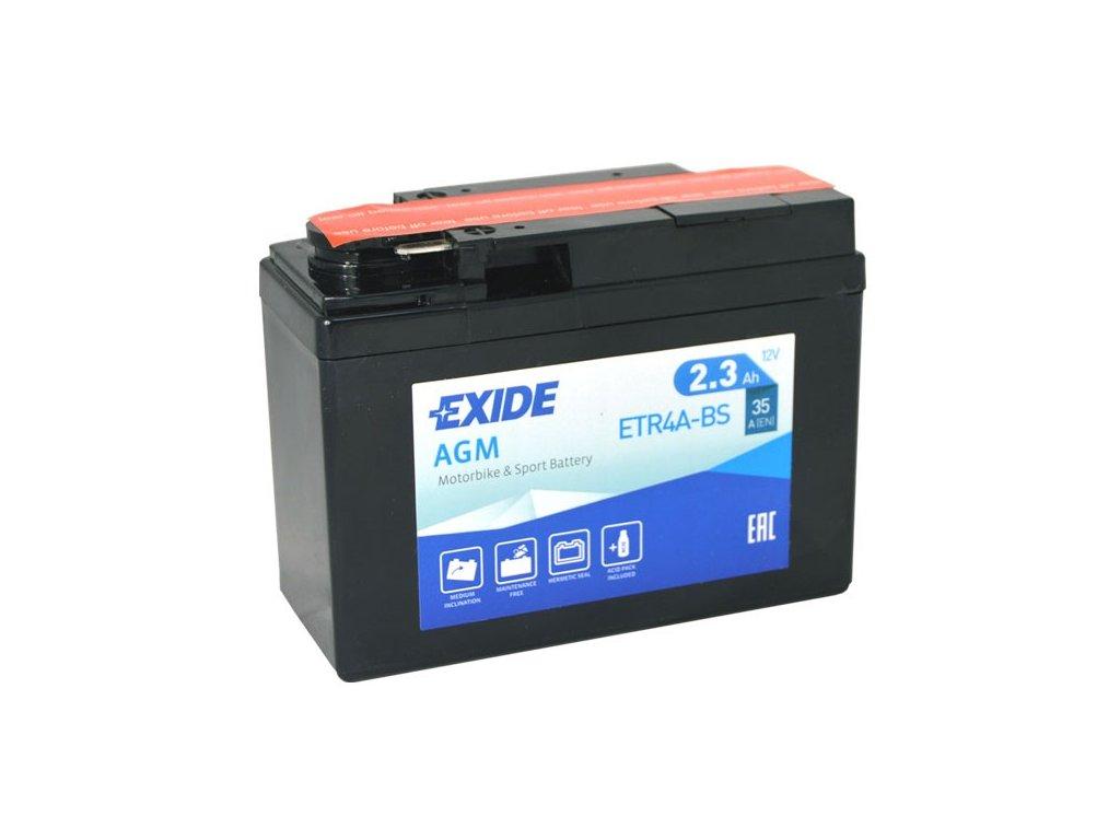 Motobaterie EXIDE ETR4A-BS, 12V, 2.3Ah, 35A