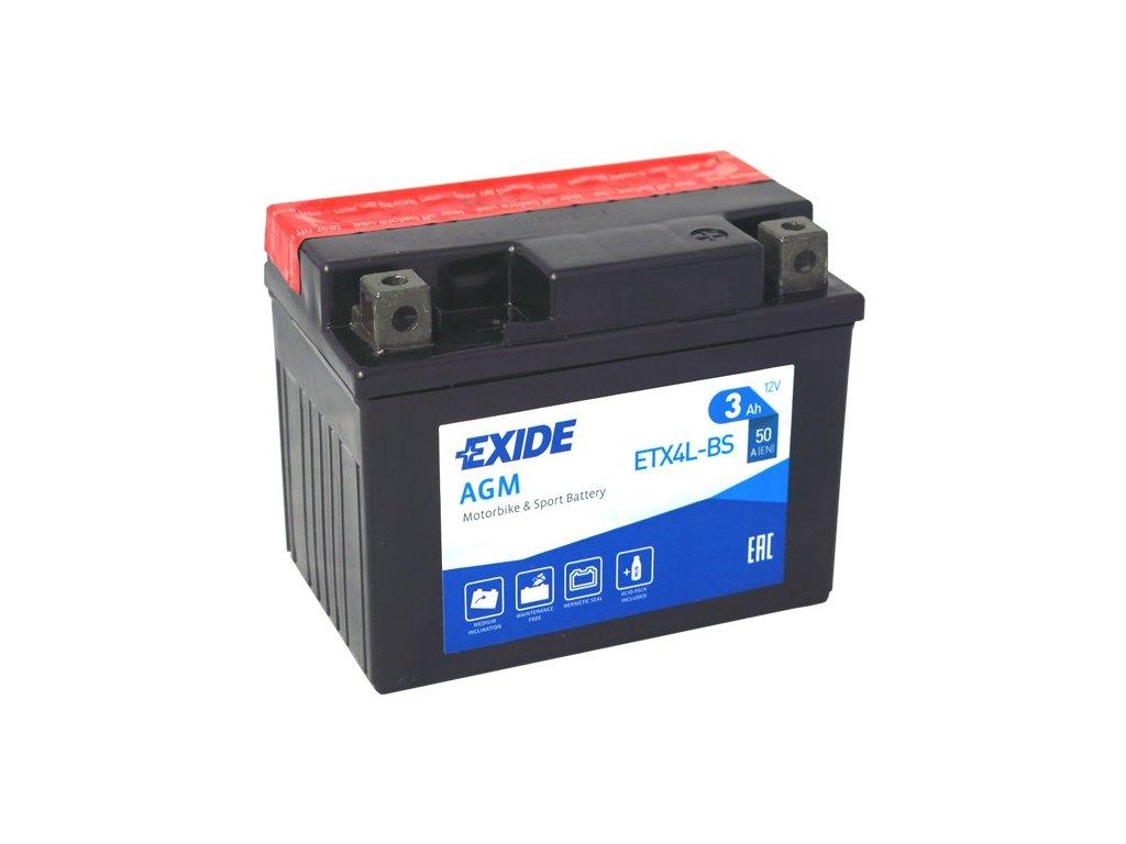 Motobaterie EXIDE ETX4L-BS, 12V, 3Ah, 50A