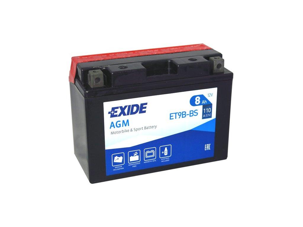 Motobaterie EXIDE ET9B-BS, 12V, 8Ah, 110A