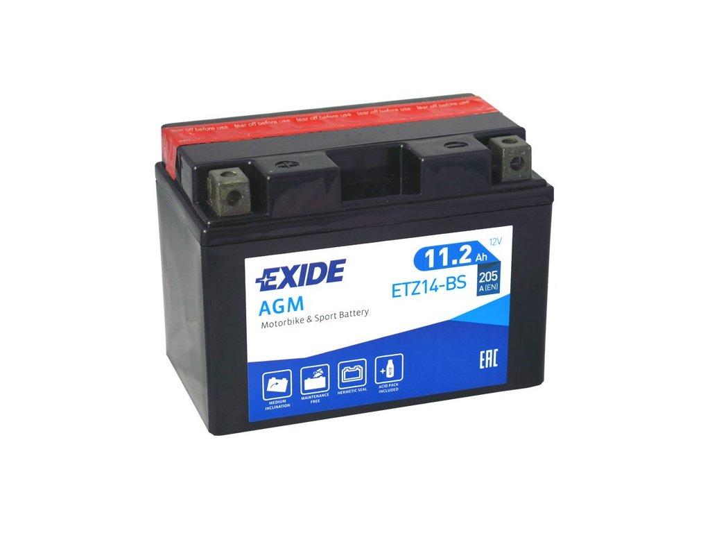 Motobaterie EXIDE ETZ14-BS, 12V, 11Ah, 205A