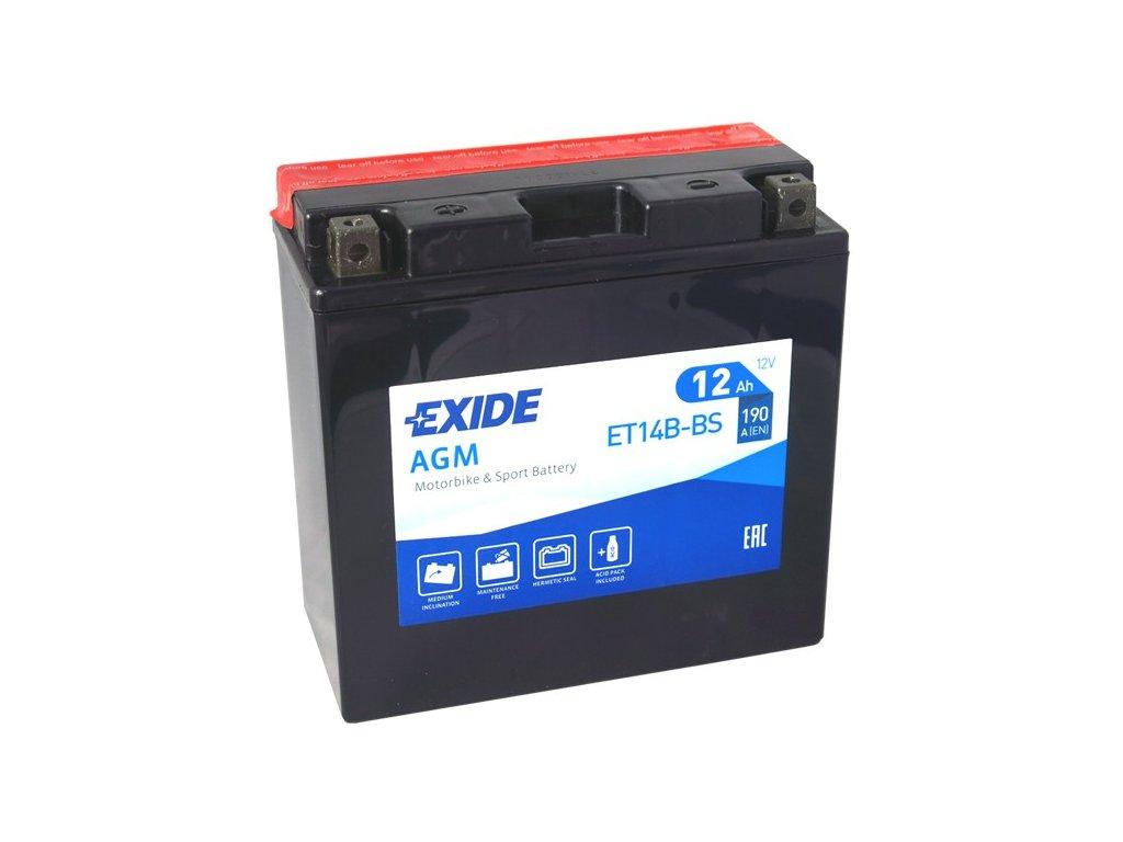 Motobaterie EXIDE ET14B-BS, 12V, 12Ah, 190A