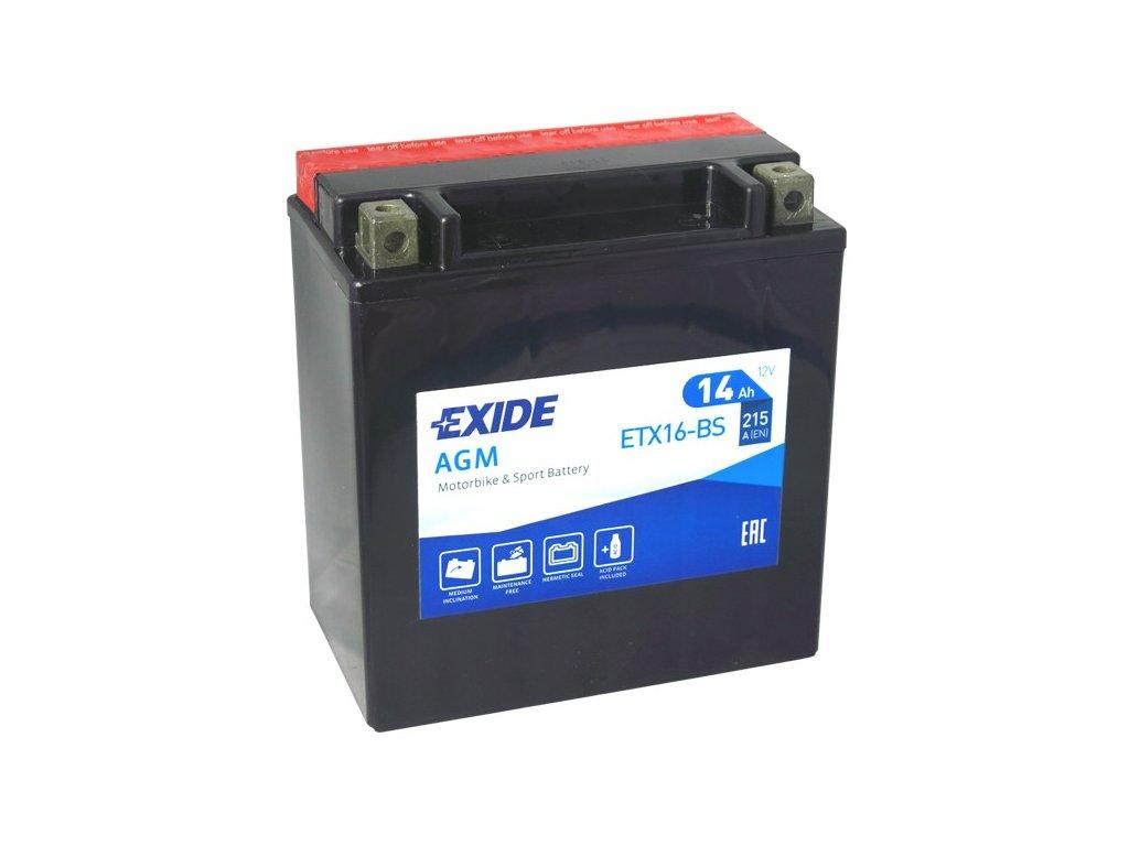 Motobaterie EXIDE ETX16-BS, 12V, 14Ah, 215A
