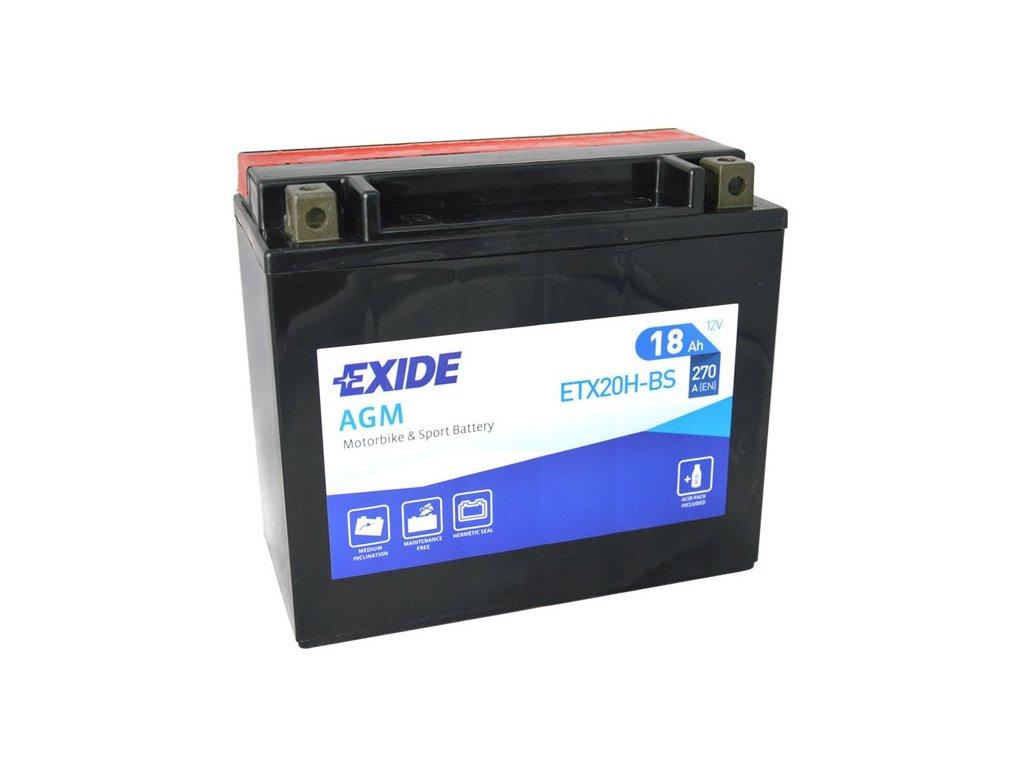 Motobaterie EXIDE ETX20H-BS, 12V, 18Ah, 270A