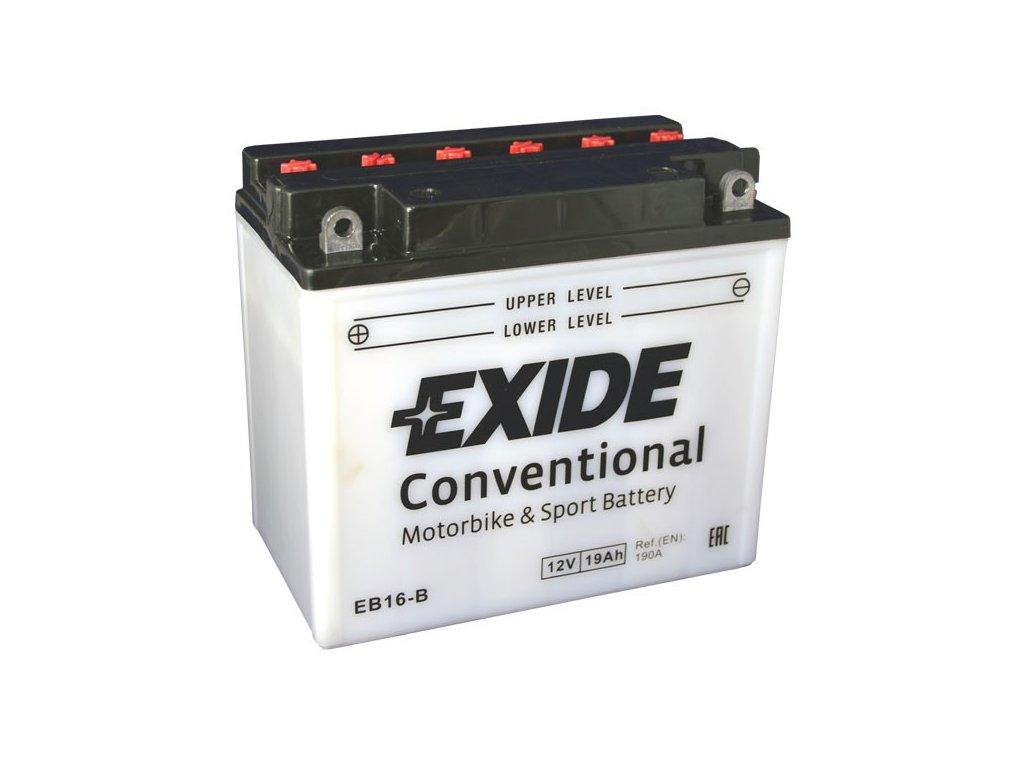 Motobaterie EXIDE BIKE Conventional 19Ah, 12V, EB16-B