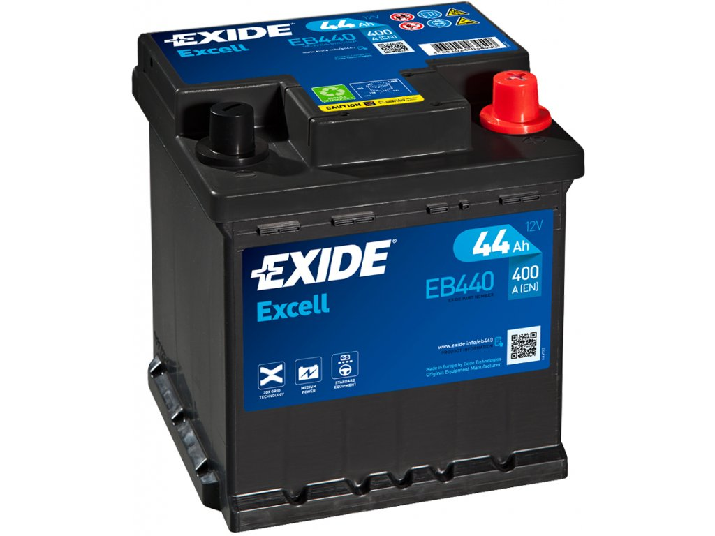 Autobaterie EXIDE Excell 44Ah, 400A, 12V, EB440